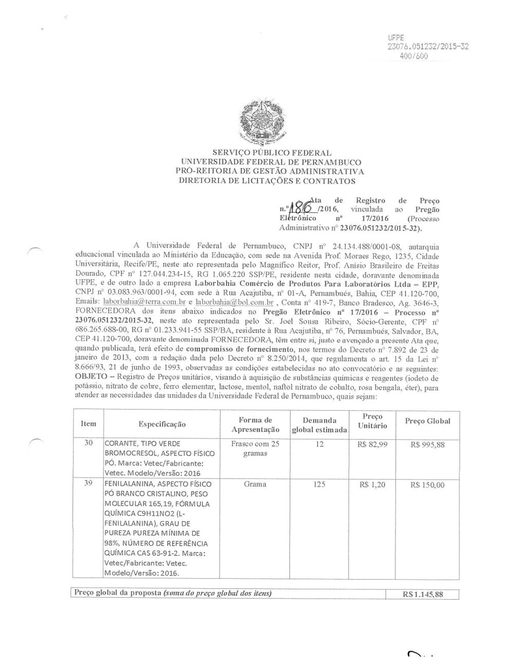 Ata 186 2016 Laborbahia Comercio De Produtos Para