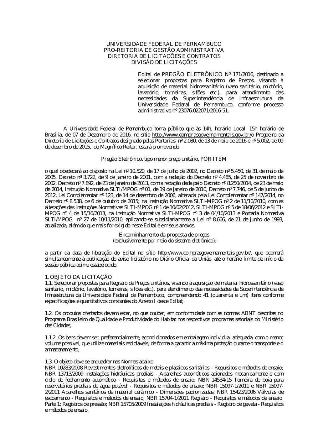 288a6fbf32966 Pregão nº 171 2016.pdf - Editais do Pregão - UFPE