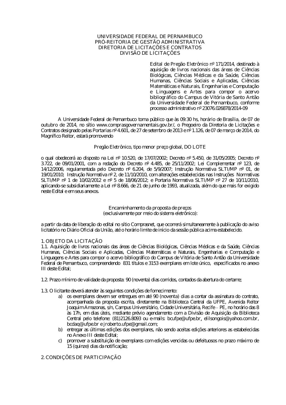 abd2a2dc42298 Pregão nº 171 2014.pdf - Editais do Pregão - UFPE