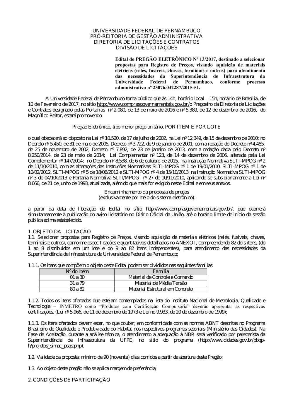 c76dcc39b814f Pregão nº 013 2017.pdf - Editais do Pregão - UFPE