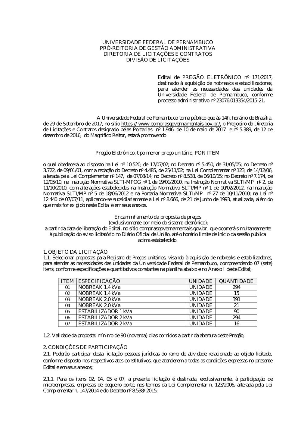 8a6d4905b9ffd Pregão nº 171 2017.pdf - Editais do Pregão - UFPE