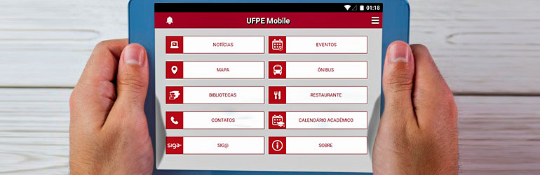 Tablet acessando aplicativo UFPE Mobile