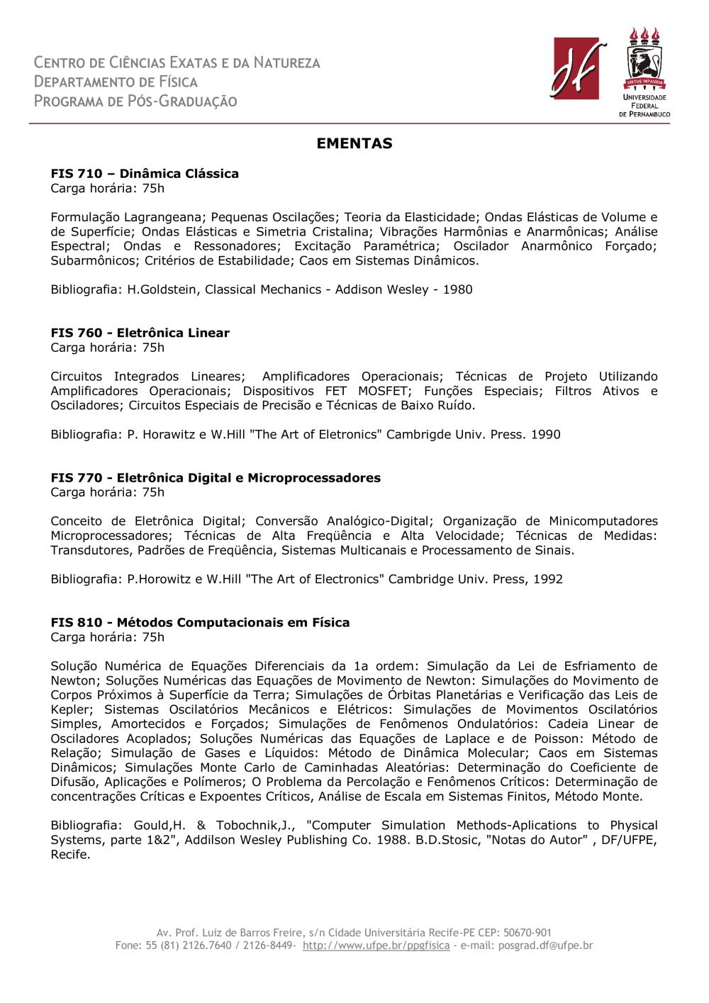 Ementas Disciplinas Eletivas - Documentos - UFPE